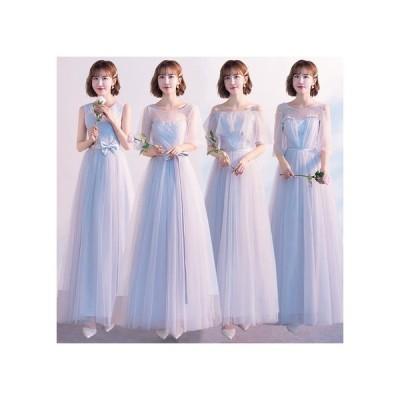 ブライズメイド パーティー ドレス ワンピース ロング丈 レース フリル メッシュ 結婚式 韓国 mme6049