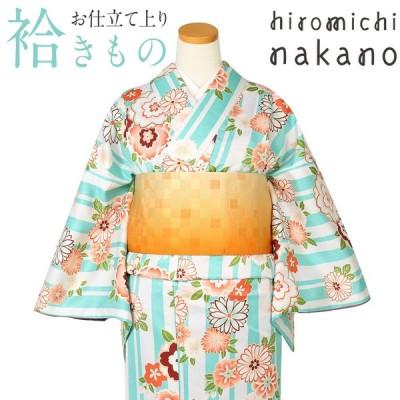 着物 小紋 袷 水浅葱 ストライプに八重桜 菊 M Lサイズ ナカノヒロミチ ブランド