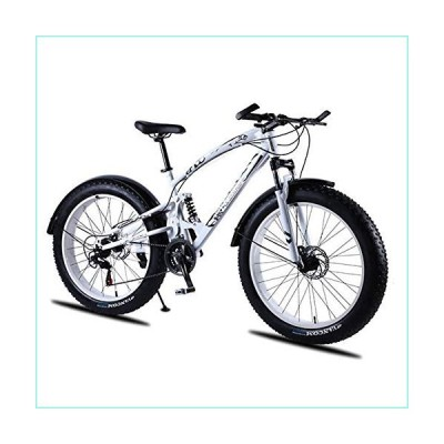 kuqi Love Freedom 7/21/24/27 Speed Mountain Bike 26 4.0 Fat Tire Bikes Shock Absorbers Bicycle Snow Bike,3159 White 21,27 Speed【並行輸入品】