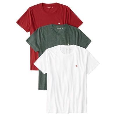 【並行輸入品】アバクロンビー&フィッチ メンズ Tシャツ ( 半袖 / 3枚 セット ) Abercrombie&Fitch 3-Pack Icon Crew Tee (レッド-グリーン-ホワイト)