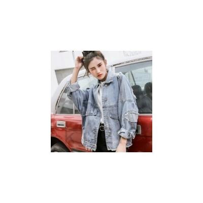 ジャケットレディースデニムコートデニムジャケットジージャンアウター無地ポケットありクラッシュ加工ダメージ加工ファッション