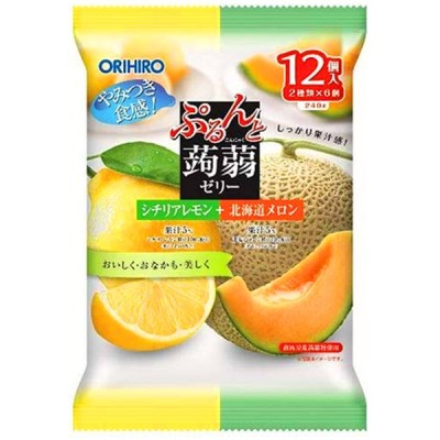 オリヒロ ぷるんと蒟蒻ゼリー パウチ シチリアレモン+北海道メロン 20g×12個