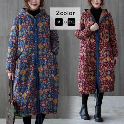 コート ロングコート ロング丈 プリント 裏ボア 裏起毛 秋冬 フード アウター羽織り ゆったり