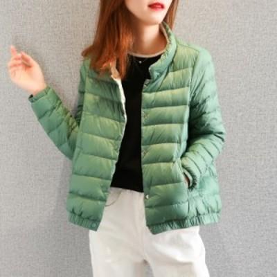 アヒル ダウンジャケット シングルブレスト 軽い 柔らかい 暖かい 長袖 グリーン ブラック ピンク オレンジ