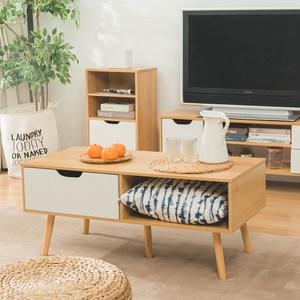 樂嫚妮 單抽屜和室茶几邊矮桌-楓木色-寬101cm
