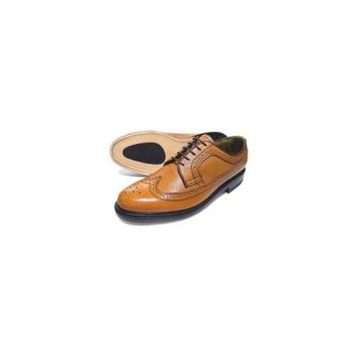 British Classic 本革底 ウィングチップ(型押)ビジネスシューズ(革靴 紳士靴)茶色/グッドイヤーウェルト製法・日本製