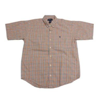 Ralph Lauren/ラルフローレン チェック柄 半袖 ボタンダウンシャツ オレンジ×黒×白×青  Boy's L