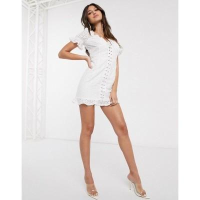 パリジャン レディース ワンピース トップス Parisian lace up front broderie mini dress in white White