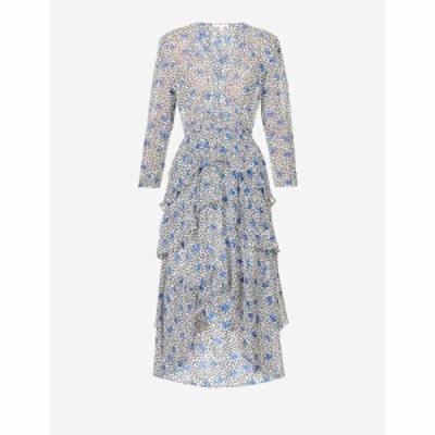 マージュ MAJE レディース ワンピース 花柄 フラワープリント フローラル ちりめん クレープ Abstract Floral-Print Crepe Midi Dress BL
