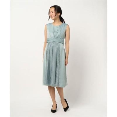 ドレス サテン&レース切り替えスカートフィットアンドフレアードレス
