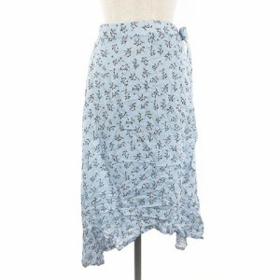 【中古】デザイナーズソサイティ DESIGNERS SOCIETY ラップスカート フレア ミモレ丈 花柄 S 青 ブルー レディース