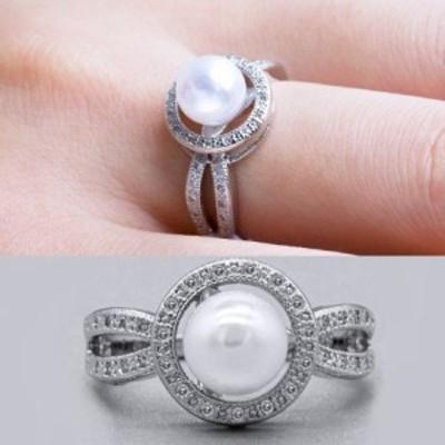 ホワイトパールリング指輪 レディース czダイヤ ジルコニア 7mmパール 結婚式 シルバー925 女性