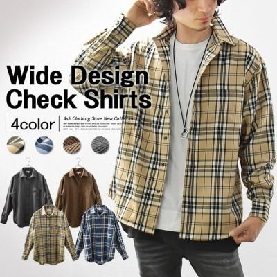 チェックシャツ メンズ 長袖 ワイドシルエット BIGシルエット ドロップショルダー カジュアル ストリート