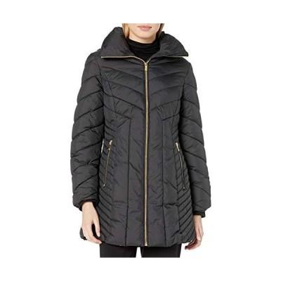 並行輸入品Anne Klein レディース ウィングカラー シェブロンキルトコート フード付き US サイズ: Small カラー: ブラック