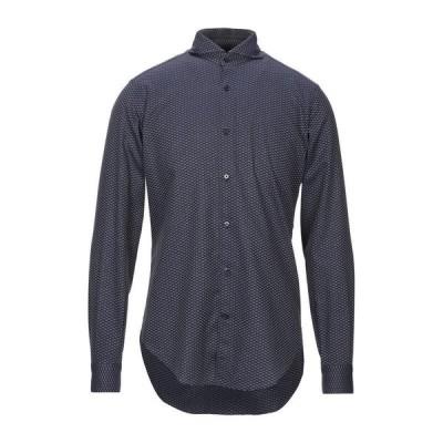 CALIBAN 柄入りシャツ  メンズファッション  トップス  シャツ、カジュアルシャツ  長袖 ダークブルー