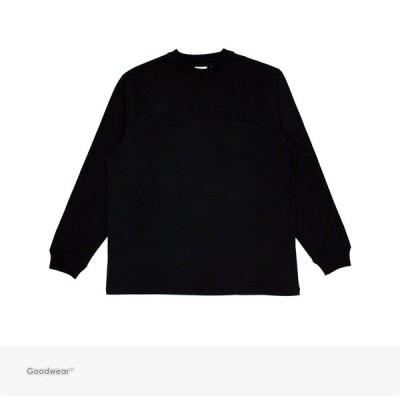 グッドウェア Goodwear USA COTTON POCKET L/S TEE   BLACK 無地 ロングスリーブ ポケット Tシャツ ポケT 長袖 ロンT USAコットン