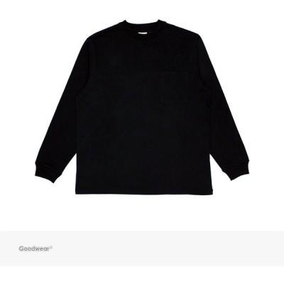 グッドウェア Goodwear USA COTTON POCKET L/S TEE | BLACK / 無地 ロングスリーブ ポケット Tシャツ ポケT 長袖 ロンT USAコットン