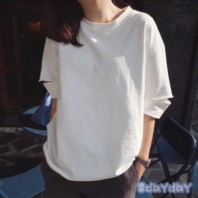 Tシャツ レディース きれいめ 40代 春夏 上品 半袖Tシャツ ブラウス 綿 白トップス オシャレ 韓国風 ゆったりカットソー 大きいサイズ  Tシャツ