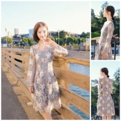 ワンピースドレス ワンピース ドレス 結婚式ドレス 清楚で可愛い 淡い色合いのフラワー総レースパーティードレス a0197