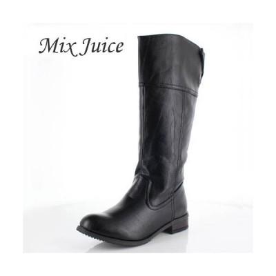 Mix Juice ミックスジュース 靴 778 ブーツ ロングブーツ ジョッキーブーツ 保温 ローヒール あったか 幅広 黒 ブラック レディース セール
