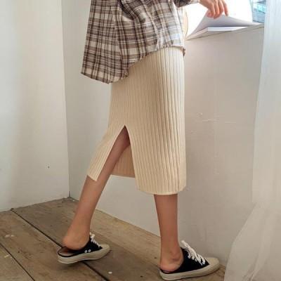 ENVYLOOK レディース スカート Ribbed Split Knitwear Skirt