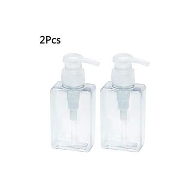 2ピース透明な空のプラスチック製のポンプボトルポータブル旅行ボトル詰め替えディスペンサーシャンプーローション石鹸液100 ml(透明)のコンテナー