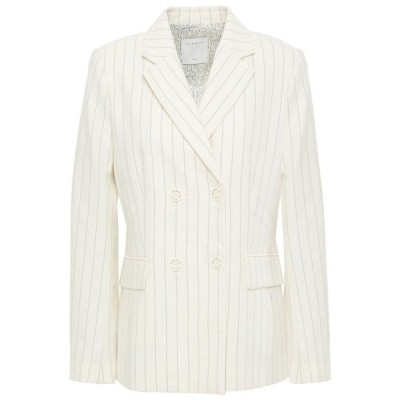サンドロ SANDRO レディース スーツ・ジャケット アウター anyon pinstriped cotton-blend twill blazer Ivory