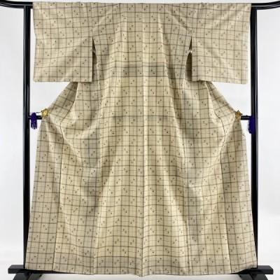 紬 美品 名品 格子 十字絣 薄茶色 袷 身丈160.5cm 裄丈63cm S 正絹 中古