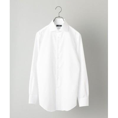 【シップス】 SHIPS:イージーアイロン ワイドカラー ブロード ソリッド シャツ メンズ ホワイト 40 SHIPS