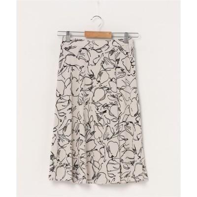 スカート 【洗濯機で洗える】アートプリントスカート