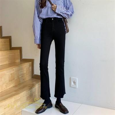 パンツ デニム ジーンズ 上品 着痩せ ベルボトム ロング丈 パンタロン ハイウエスト カジュアル 細身 美脚 不規則 ブルー ブラック 20代 30代 大人 きれいめ