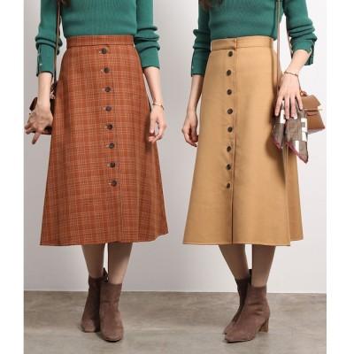 【ロペ マドモアゼル/ROPE mademoiselle】 チェック×ムジ リバーシブルスカート