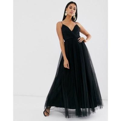 エイソス ASOS DESIGN レディース ワンピース キャミワンピ ワンピース・ドレス cami pleated tulle maxi dress ブラック