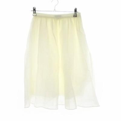 【中古】シップス SHIPS スカート フレア ひざ丈 シルク混 無地 36 白 ホワイト /CK レディース