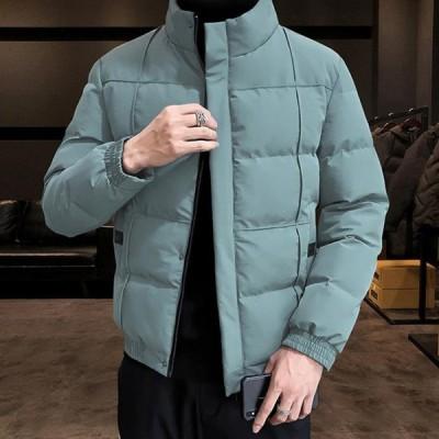中綿ジャケット メンズ ダウン風 冬服 ボリューム ハイネック ボタン仕様 バルーンスリーブ  キルティング 暖かい 大人 軽量 通勤