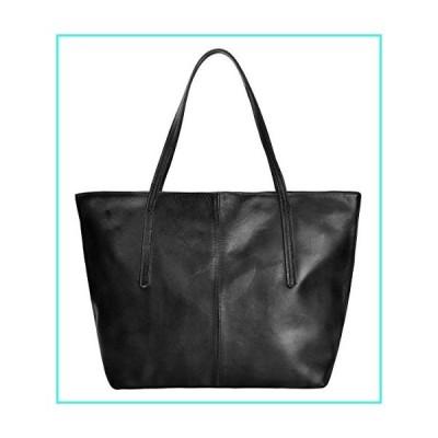 【新品】ZLYC Women Vintage Dip Dye Leather Tote Bag Handbag Large Zippered Shoulder Bag, Black(並行輸入品)