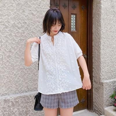 ブラウス レディース 半袖 夏 シャツ トップス  薄手 vネック コットン   ホワイト体型カバー ゆったり ノーカラー  花柄 プルオーバー 40代