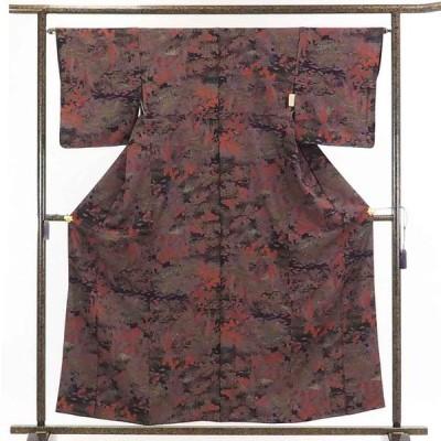 リサイクル着物 小紋 正絹茶紫地花柄袷小紋着物