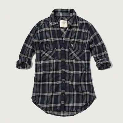 【正規品】アバクロ【レディースLadys】フランネルシャツ(長袖)【Plaid Flannel Shirt】ネイビープレイドチェック【アバクロンビー&フィッチ 正規】