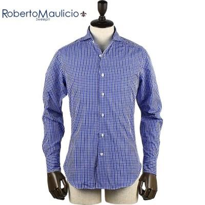 ロベルトマウリシオ スウィープ!! ROBERTO MAULICIO SWEEP!!  メンズ ラインチェック柄 コットンシャツ (ブルー)