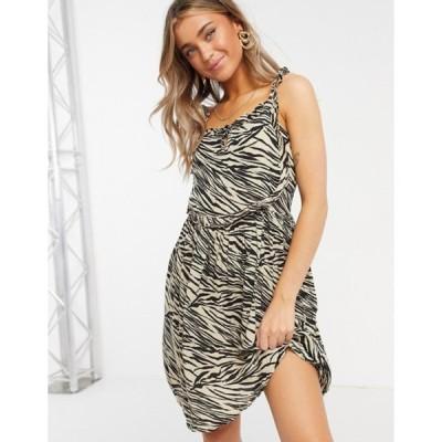 ウェンズデーガール レディース ワンピース トップス Wednesday's Girl mini cami dress in zebra print