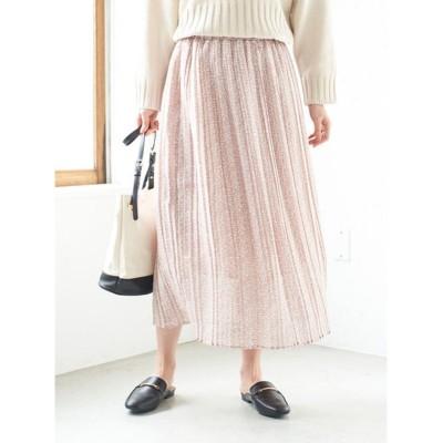 【グリーンパークス】 小花柄シフォンプリーツスカート レディース ピンク F Green Parks