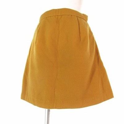 【中古】未使用品 リエンダ rienda タグ付き スカート ミニ 台形 イージー タック 無地 黄色 M ボトムス レディース