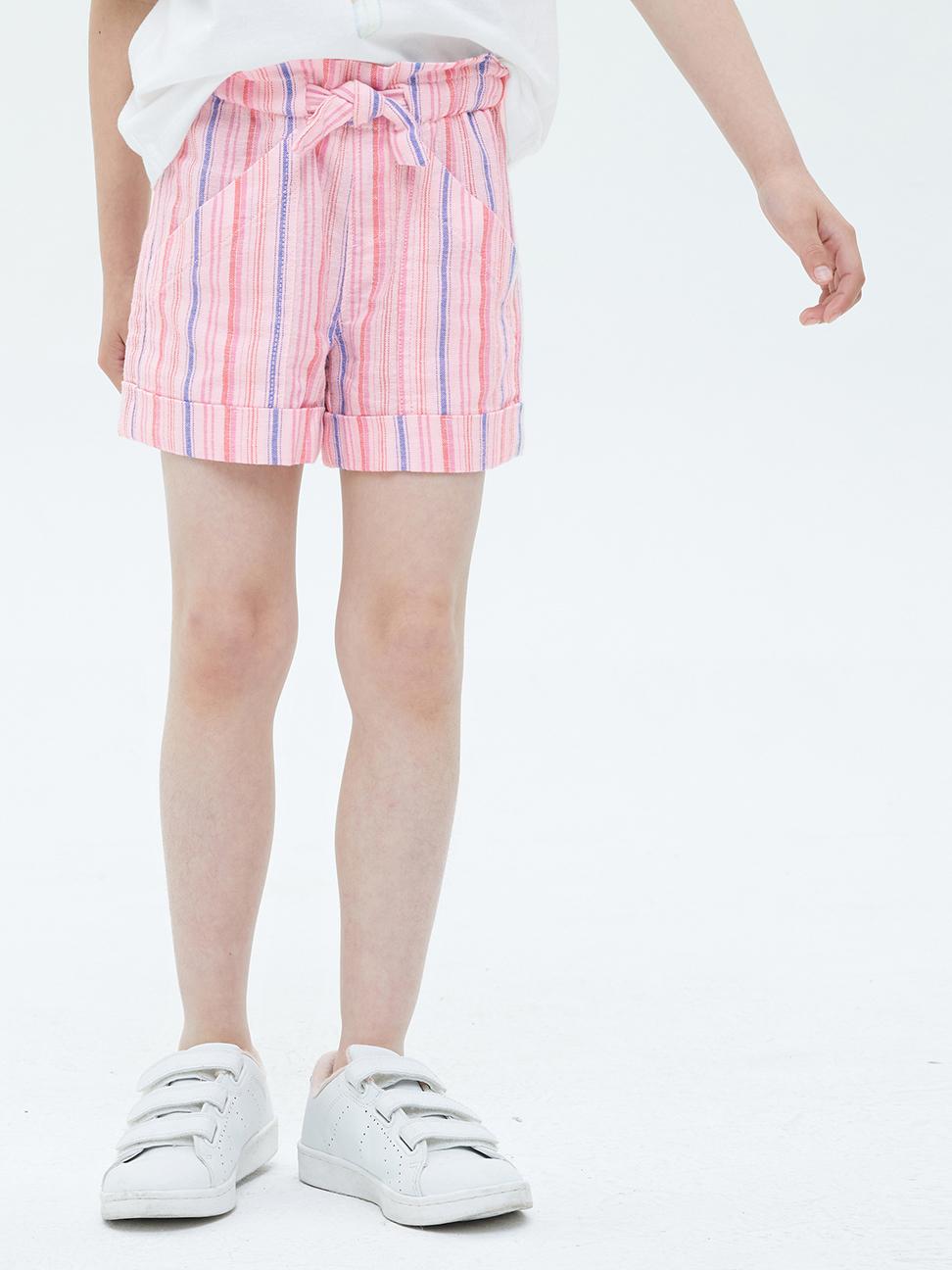 女童 亞麻混紡寬鬆捲邊短褲