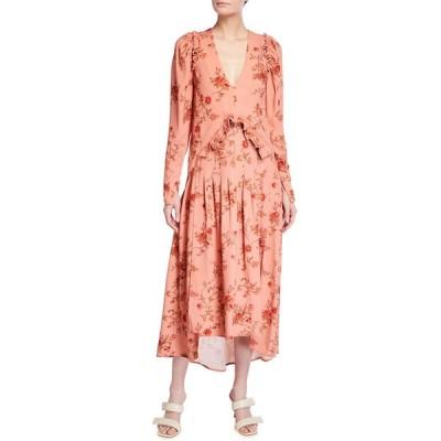 マザーオブパール レディース ワンピース トップス Puff-Sleeve Floral V-Neck Dress