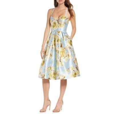 エリザジェイ ワンピース トップス レディース Metallic Floral Fit & Flare Dress Blue