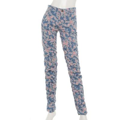 REAL CUBE (リアルキューブ) レディース シャーリング花柄パンツ ブルー S