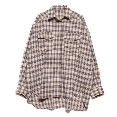 スタイルブロック STYLEBLOCK ネルチェックビッグシャツ (ベージュ)