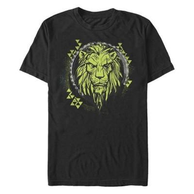 ディズニー Tシャツ トップス メンズ Men's The Lion King Live Action Scar Geometric Circle, Short Sleeve T-Shirt Black