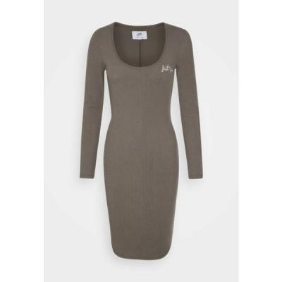 レディース ジャージドレス RIBBED DRESS - Shift dress - kaki